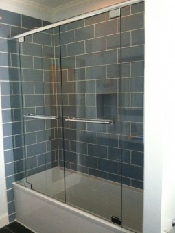 Frameless Shower Double Doors & Header for Tub 001