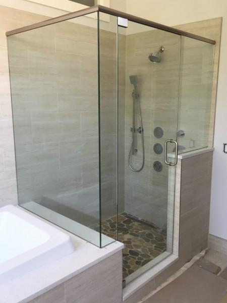 Frameless Shower Door with Header 044