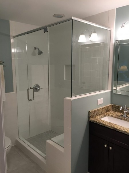 Frameless Shower Door with Header 045