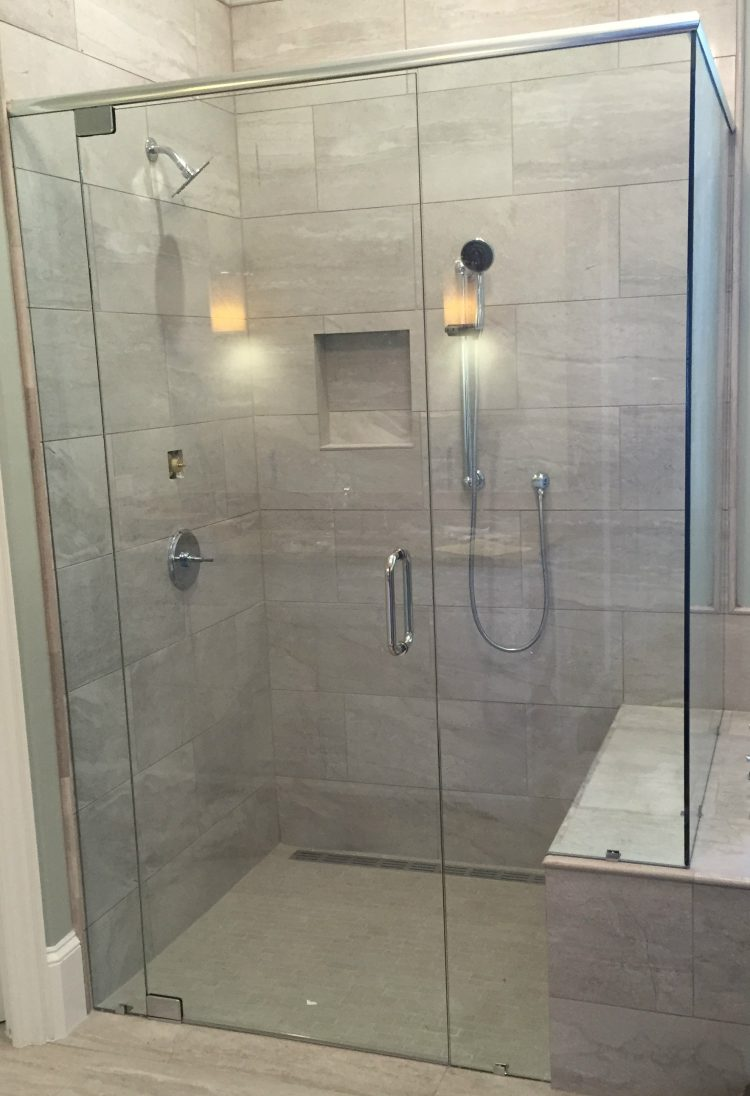 frameless shower door with header 041