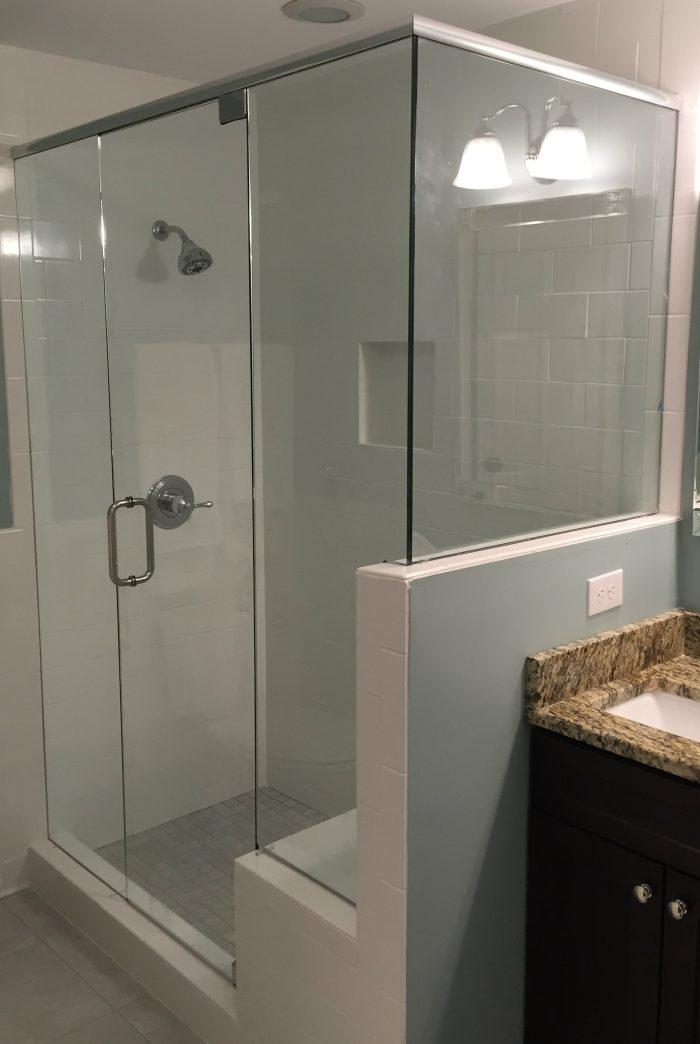 Frameless shower crystalline shower enclsosure with for Frameless corner shower enclosure