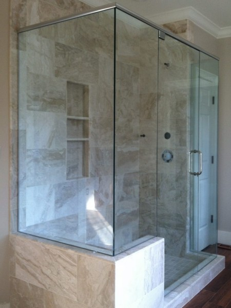 Frameless Shower Door with Header 038